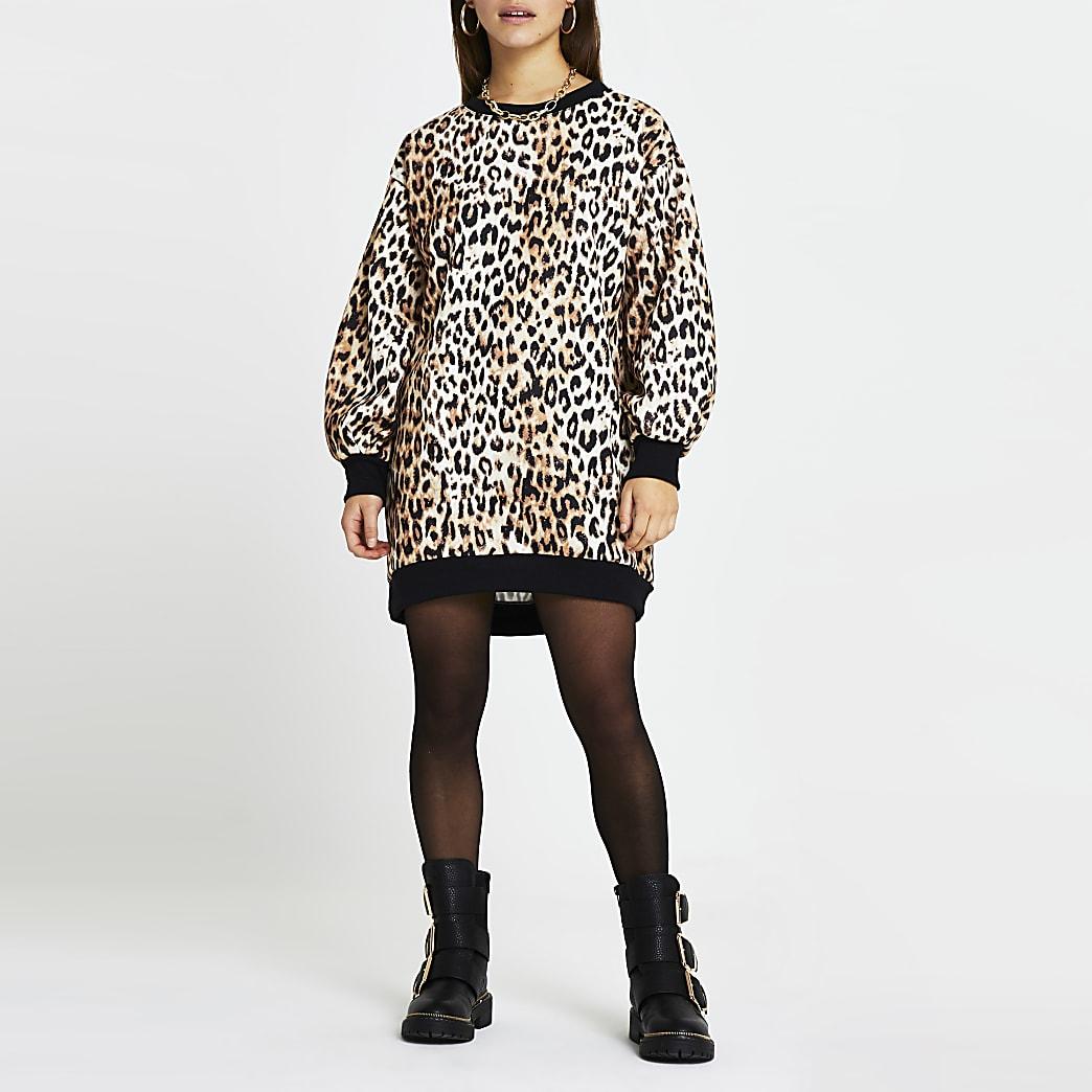 Petite brown leopard print mini sweater dress