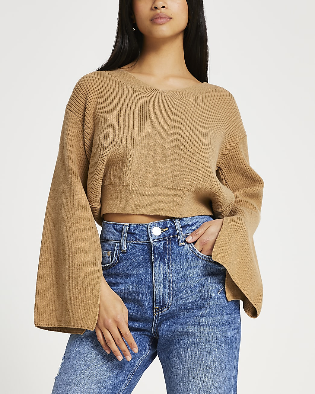 Petite brown lounge tie bow back knitted top