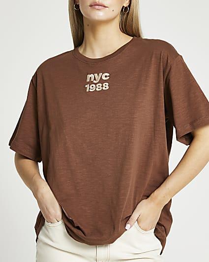 Petite brown 'NYC 1988' oversized t-shirt
