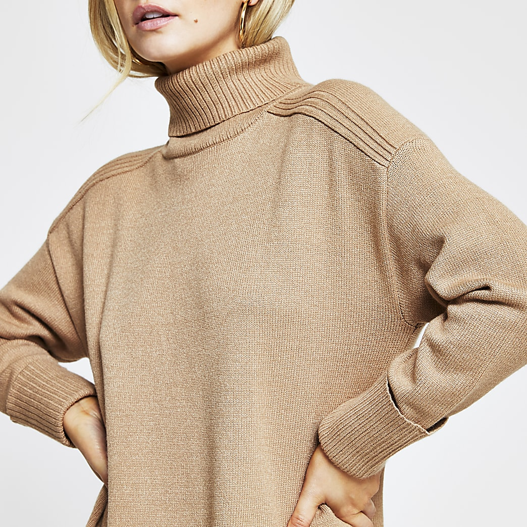 Petite brown oversized jumper dress