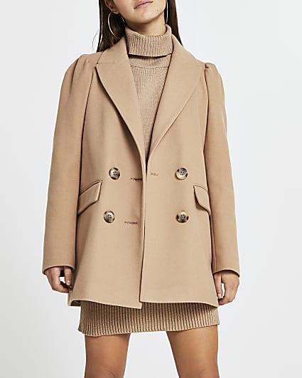 Petite brown puff sleeve blazer