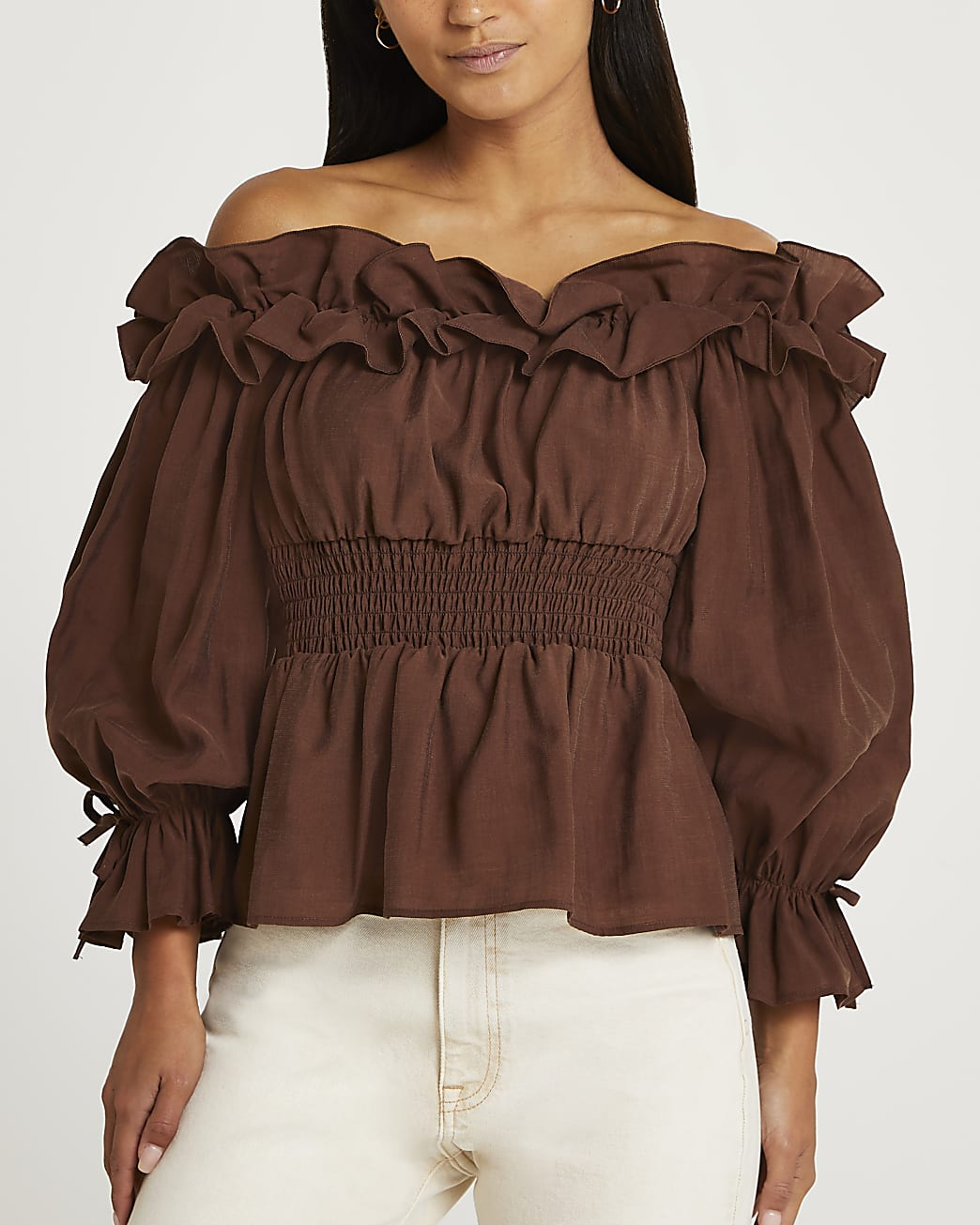 Petite brown ruffled bardot top