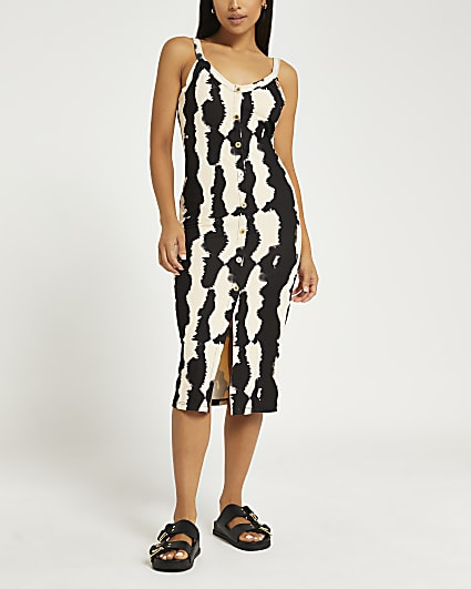 Petite brown stripe bodycon midi dress