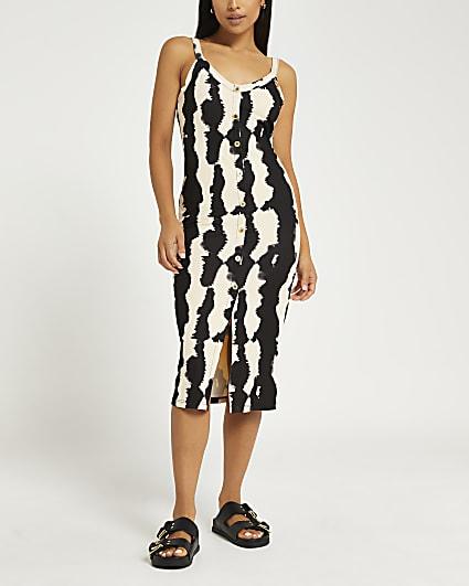 Petite brown stripe midi dress