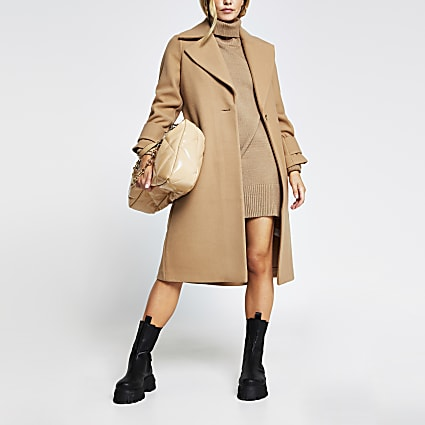 Petite Camel single breasted cuff detail coat