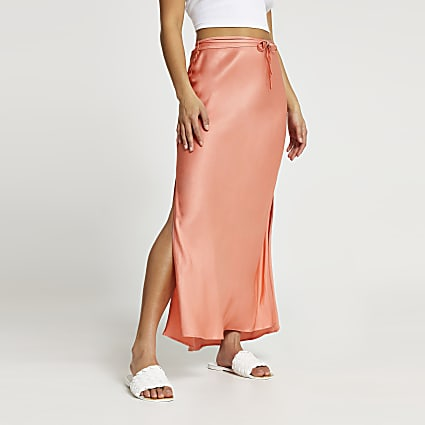 Petite copper tie waist maxi skirt
