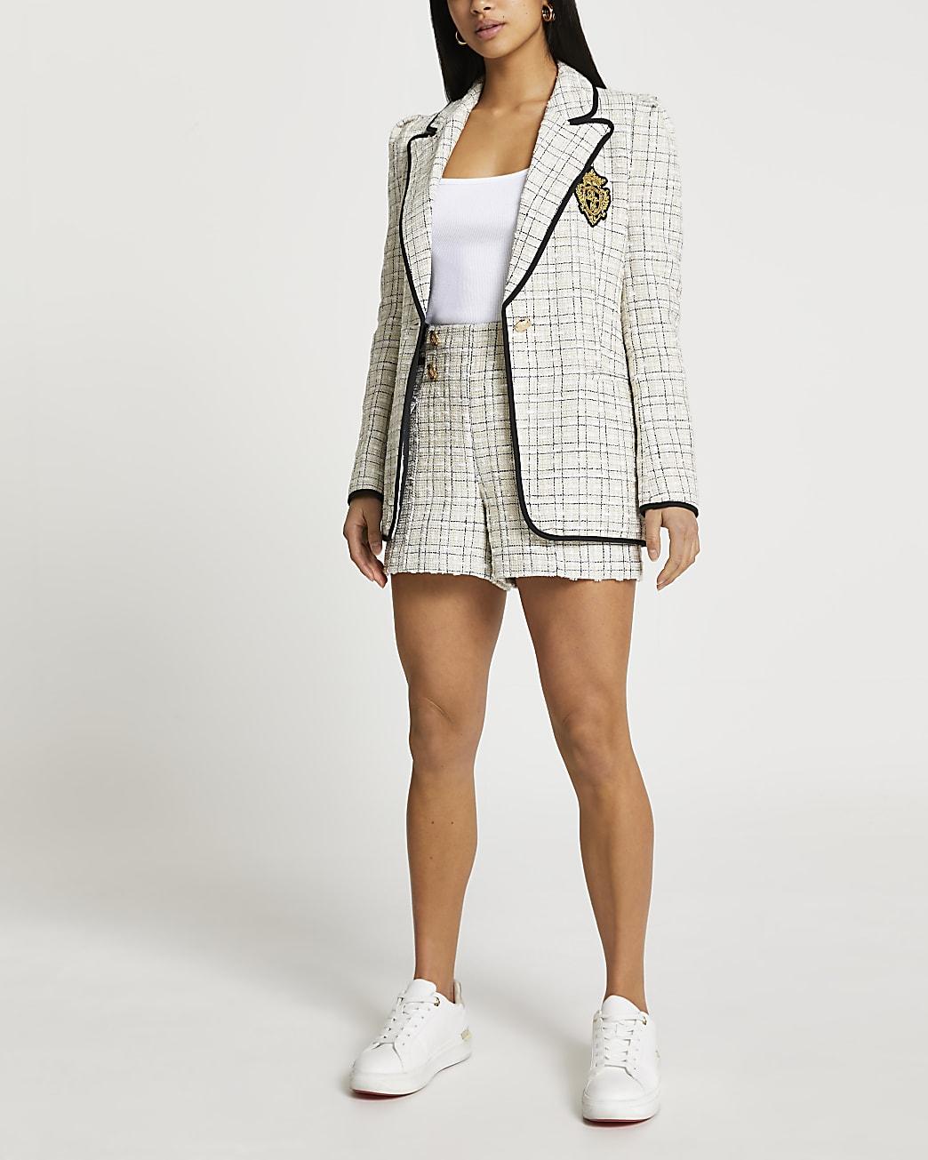 Petite cream boucle badged blazer