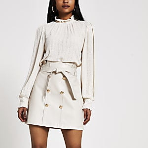 Petite cream button through mini skirt