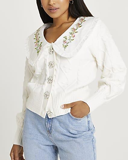 Petite cream cable knit cardigan