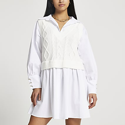 Petite cream cable knit shirt mini dress