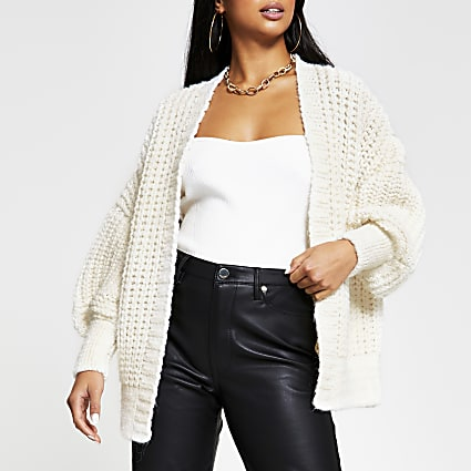 Petite cream chunky ribbed cardigan