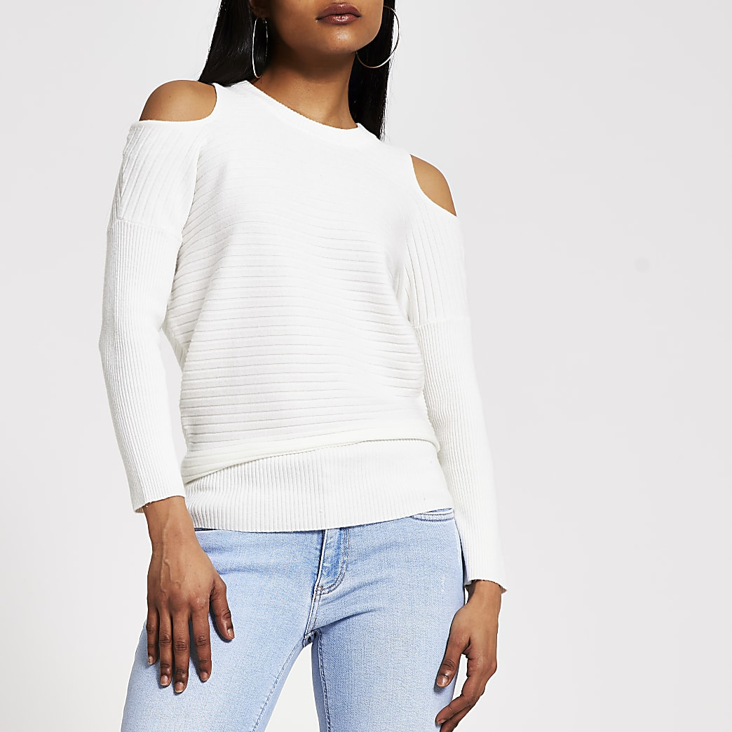 Petite cream cold shoulder rib knitted jumper