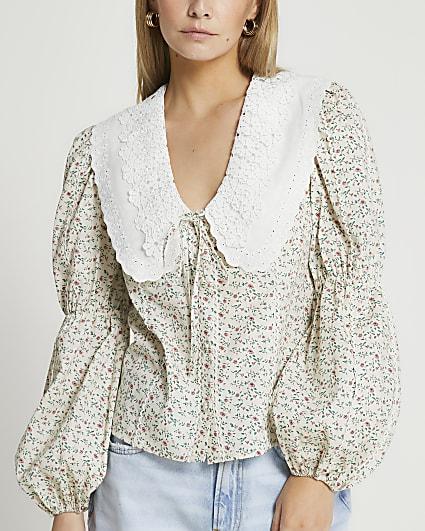 Petite cream floral oversized collar top