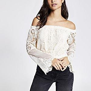 Petite cream lace bell sleeve bardot top