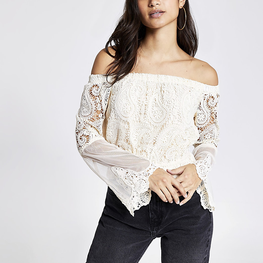 Petite cream lace bell sleeve bardot top