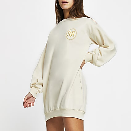 Petite Cream long sleeve mini jumper dress