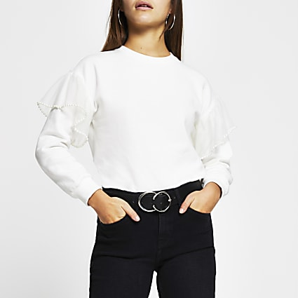 Petite cream pearl flute long sleeve jumper