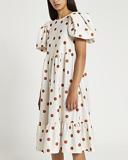 Petite cream polka dot textured midi dress