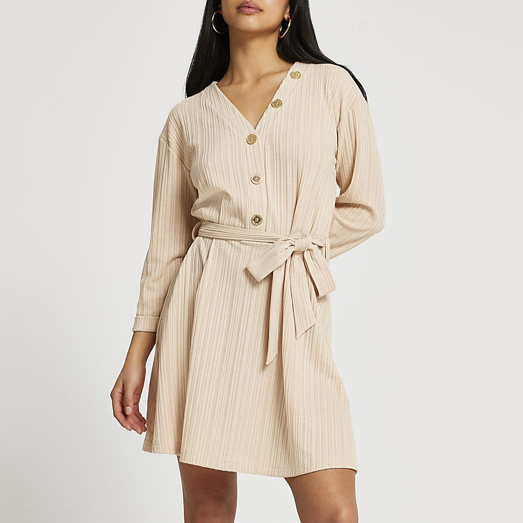 Petite cream ribbed belted mini dress