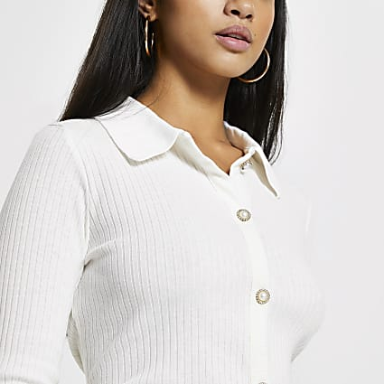 Petite cream ribbed button front cardigan