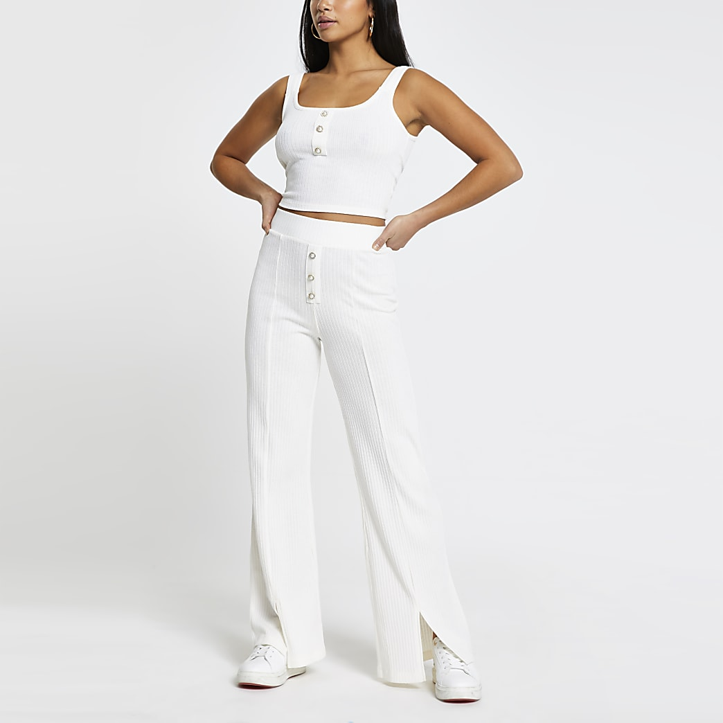 Petite cream ribbed wide leg trousers