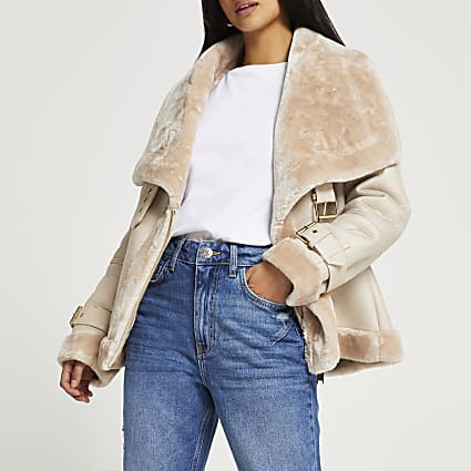 Petite cream shearling aviator coat