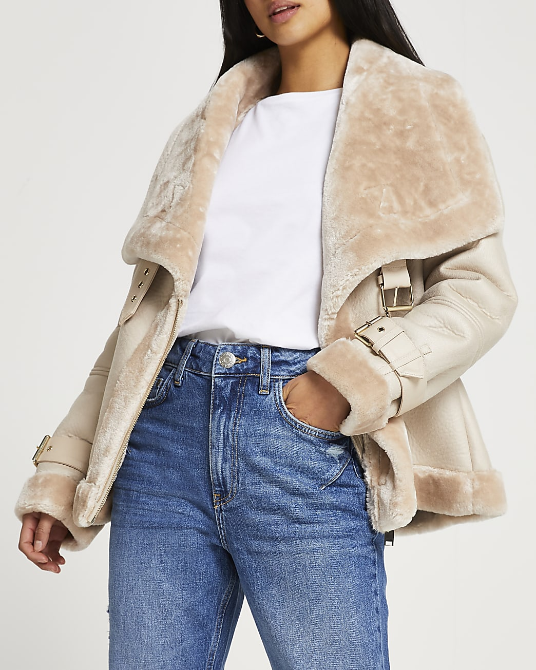 Petite cream shearling oversized aviator coat