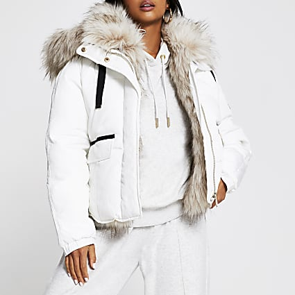 Petite cream short faux fur puffer coat