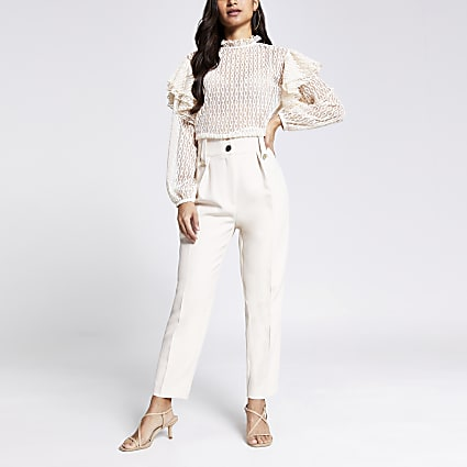 Petite cream tab waist peg trousers
