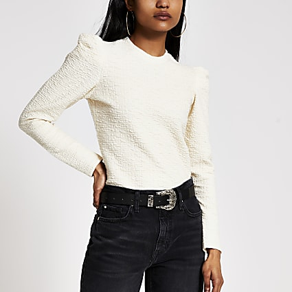 Petite cream textured long puff sleeve top