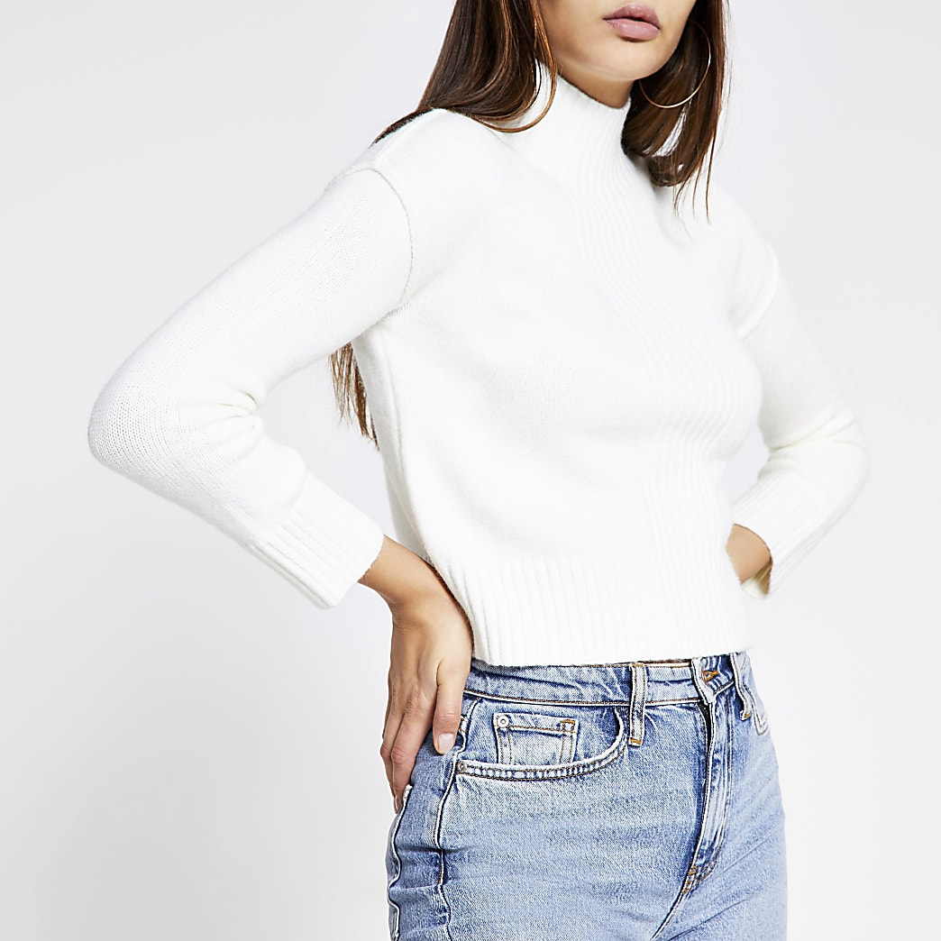 Petite cream turtle neck jumper