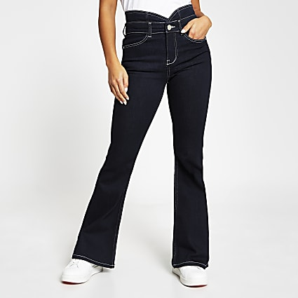 Petite dark blue high rise bootcut jeans