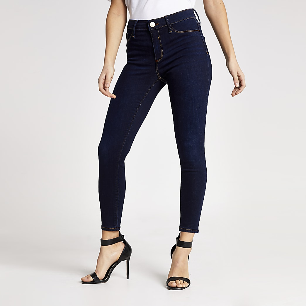 Petite dark blue Molly mid rise jeggings