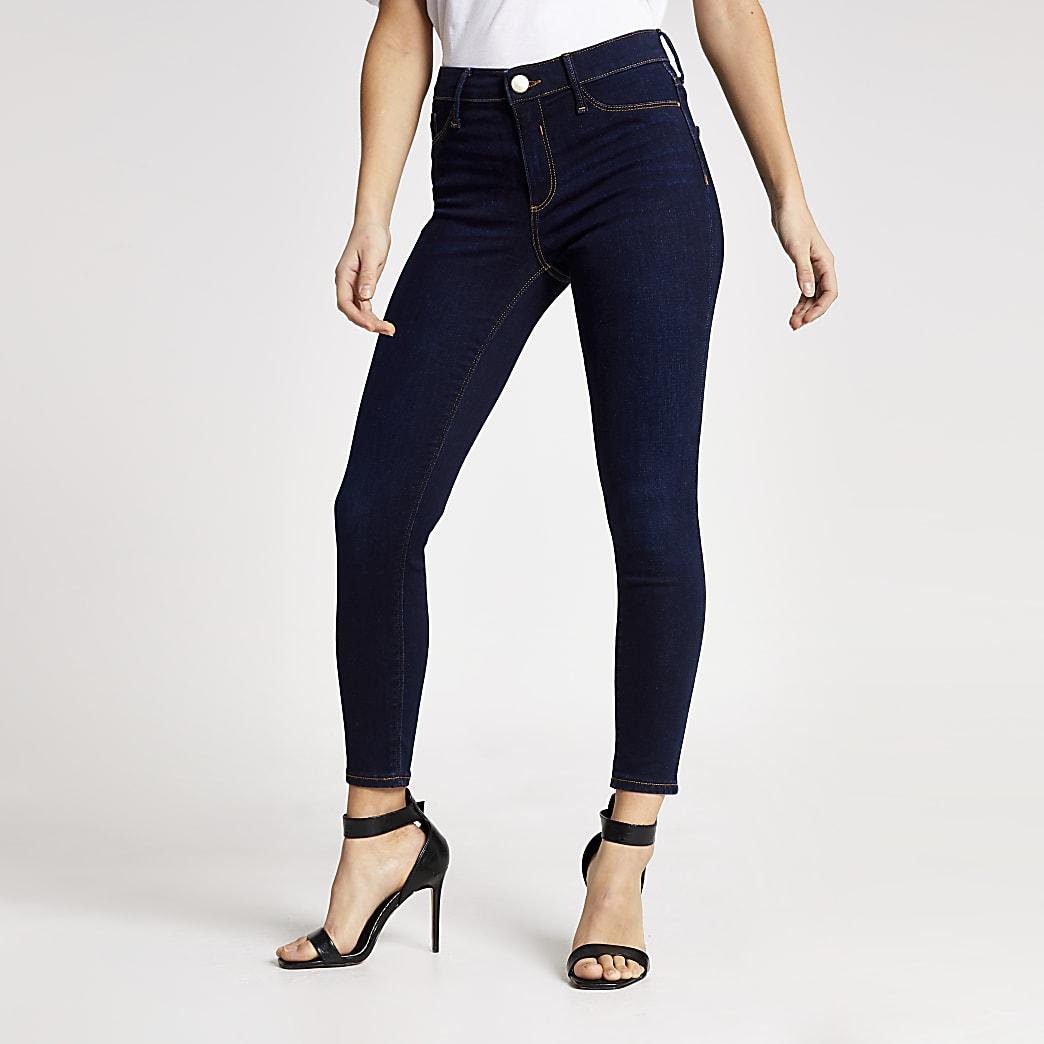 Petite dark blue Molly mid rise skinny jeans