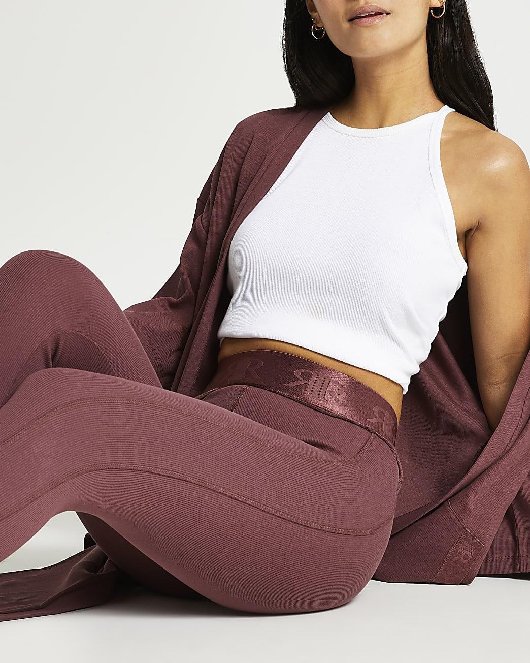 Petite dark pink rib leggings