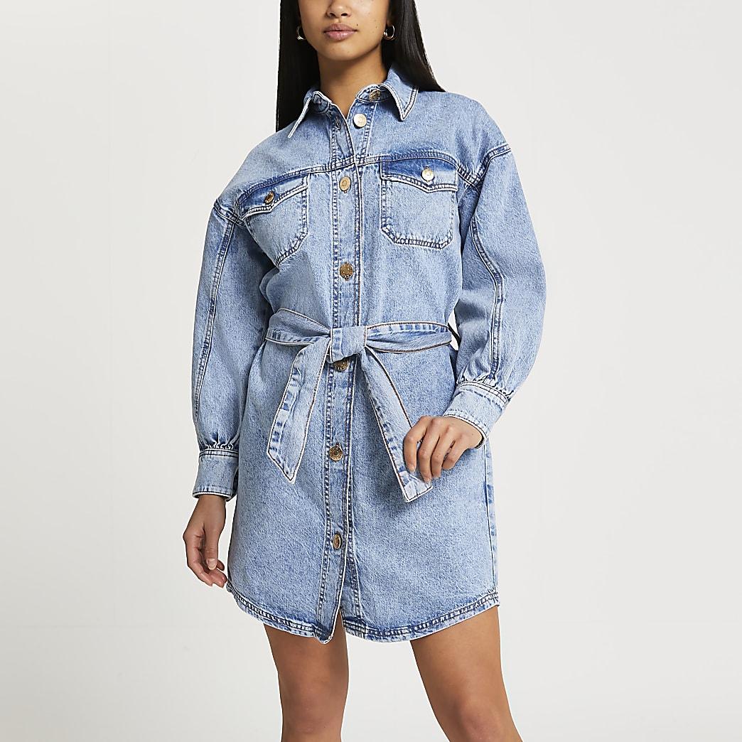 Petite denim batwing shirt dress