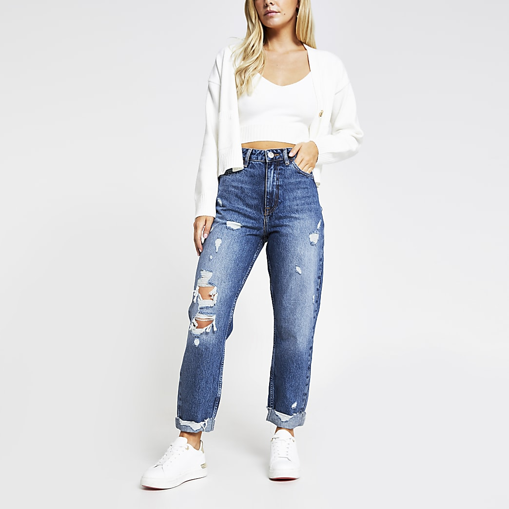 Petite denim Carrie ripped jean