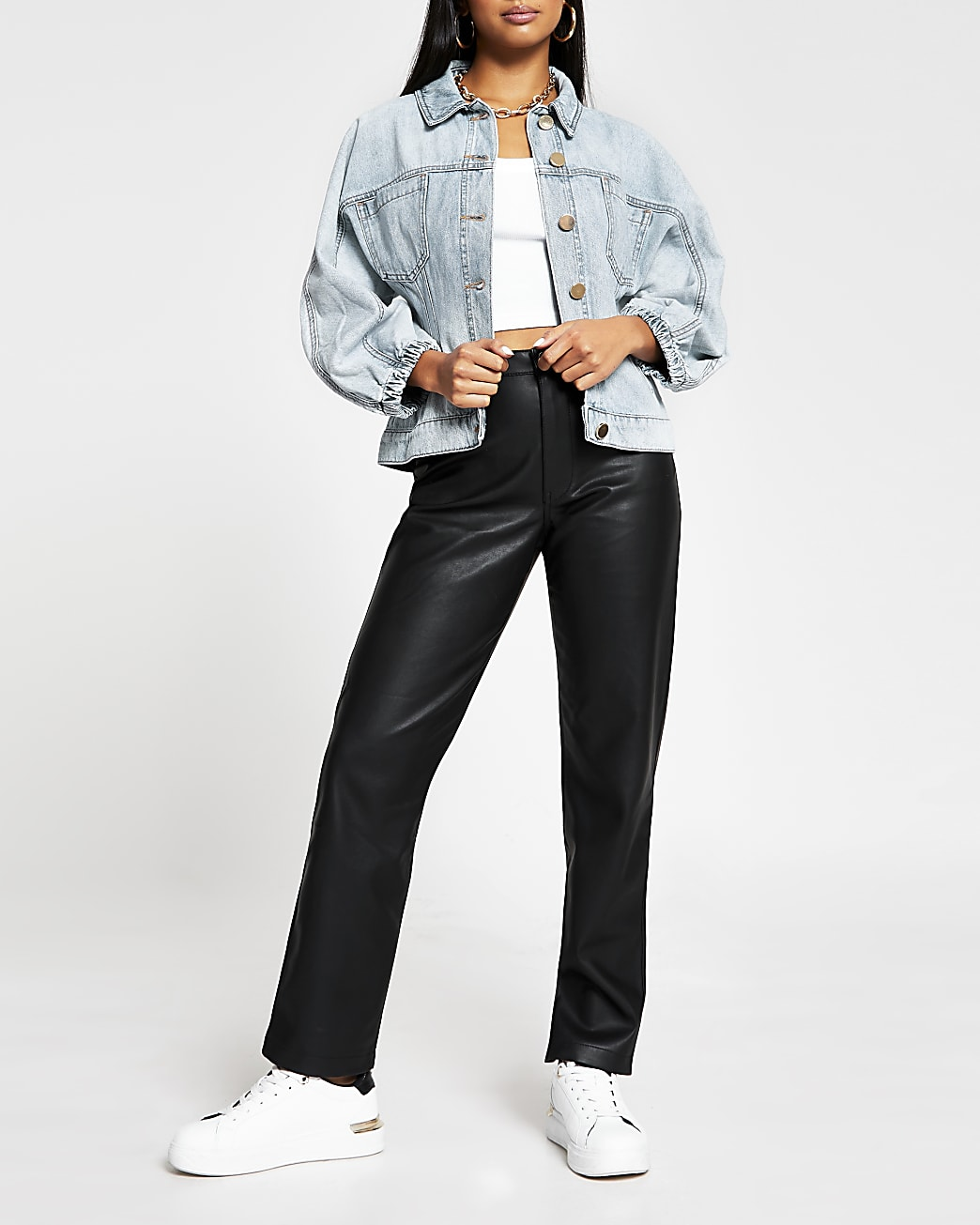 Petite denim cinched waist jacket