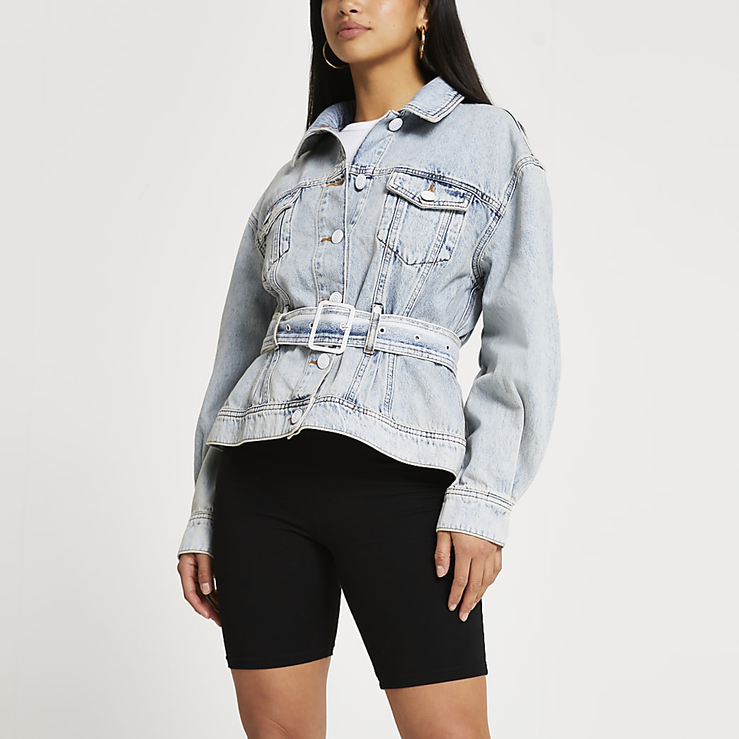 Petite denim long sleeve belted peplum jacket