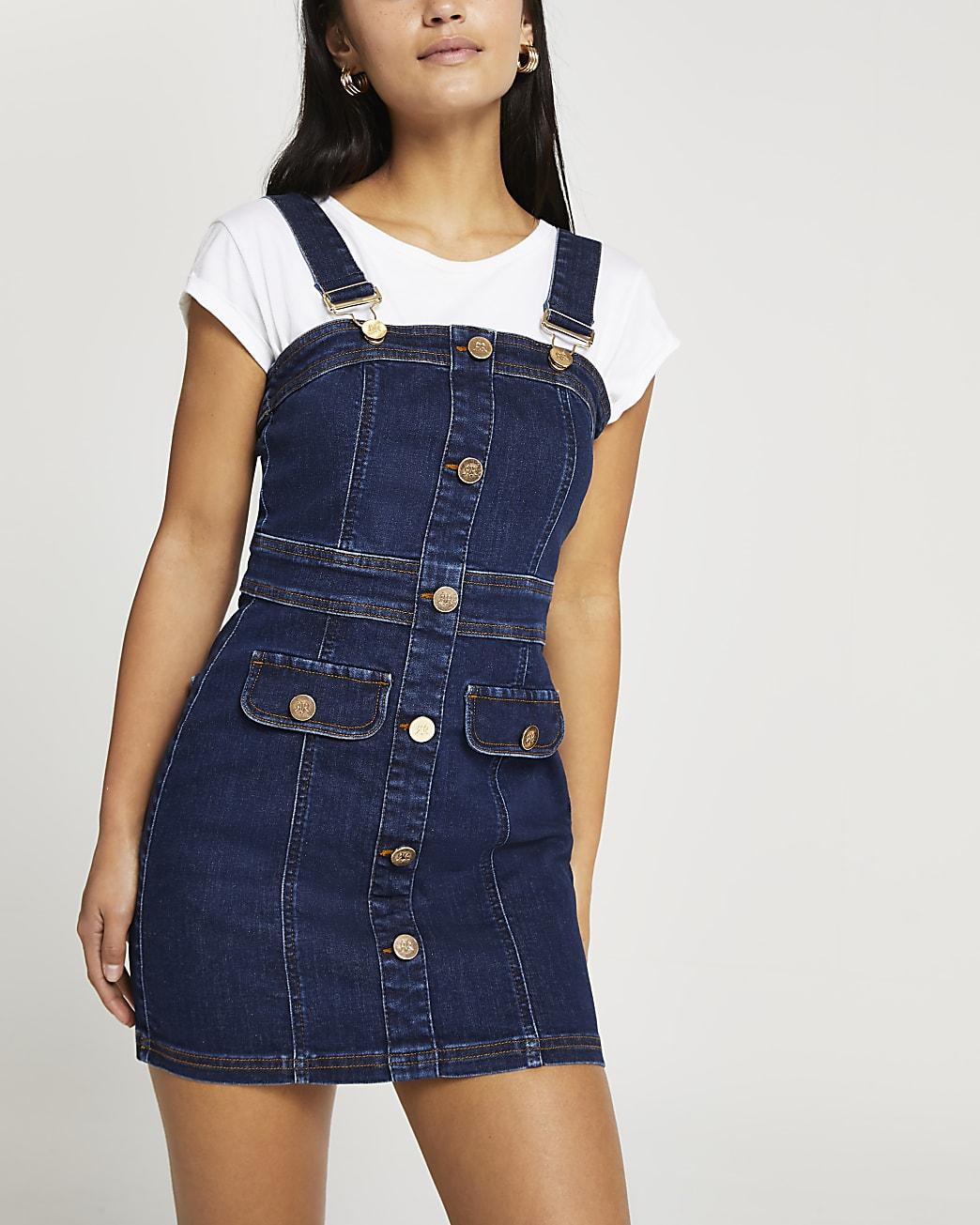 Petite denim mini dungaree dress