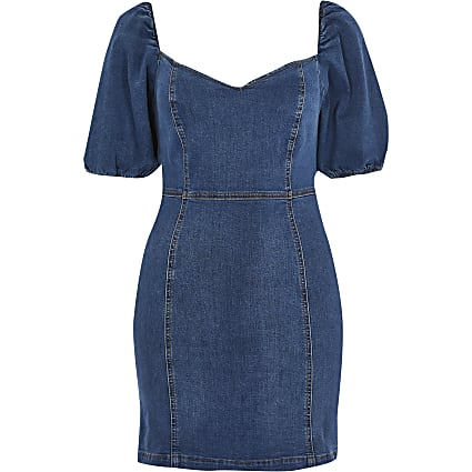 Petite denim puff sleeve fitted dress