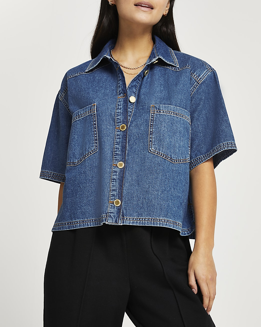 Petite denim short sleeve shirt