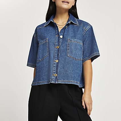 Petite denim short sleeve shirt