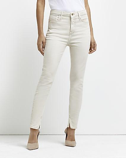 Petite ecru high waisted skinny jeans