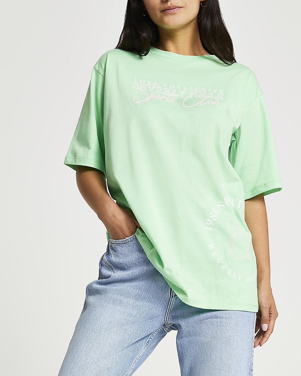 Petite green Beverly Hills oversized t-shirt