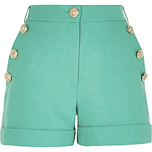 Petite green button front shorts