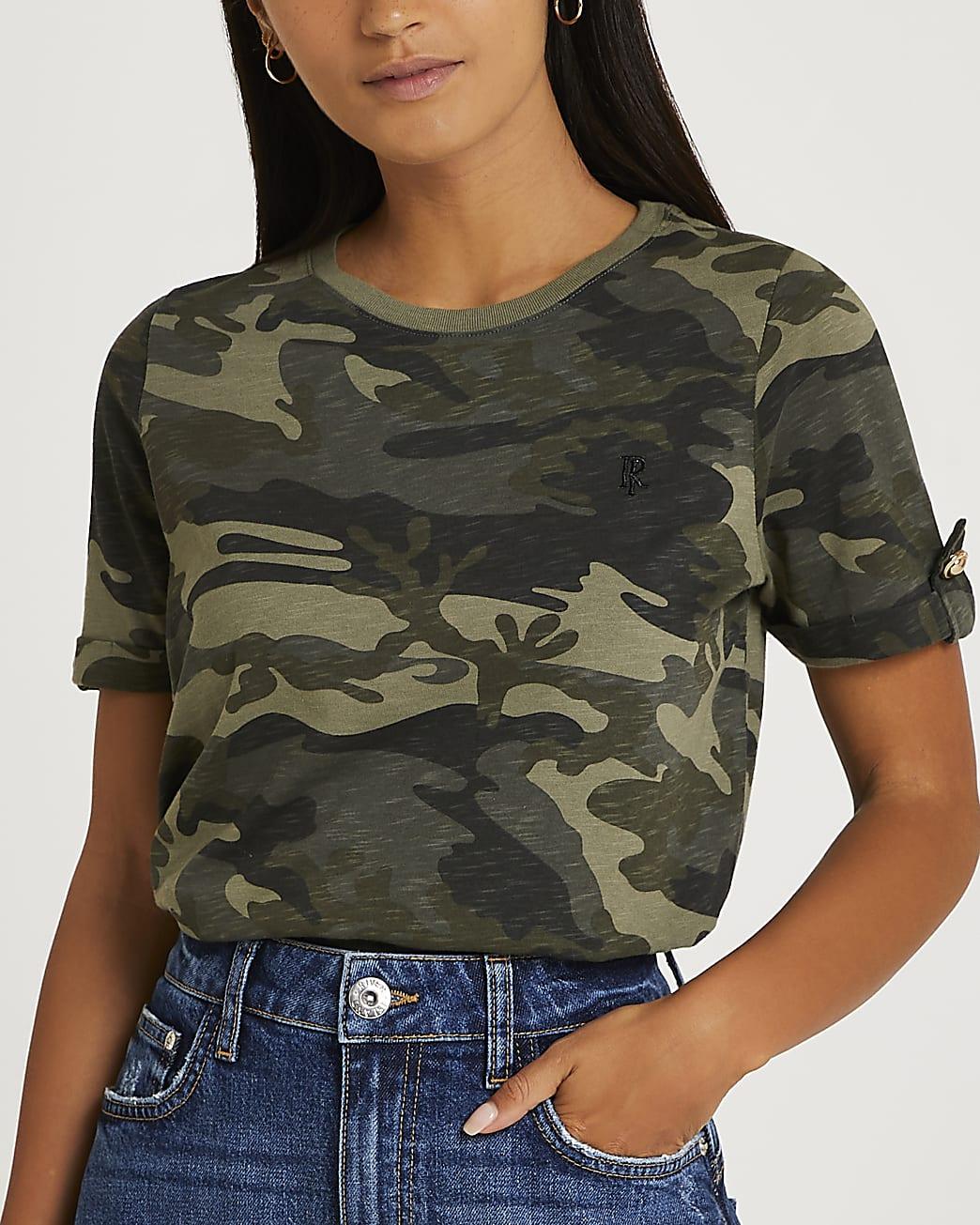 Petite green camo print turnback t-shirt
