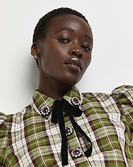 Petite green check tie neck shirt