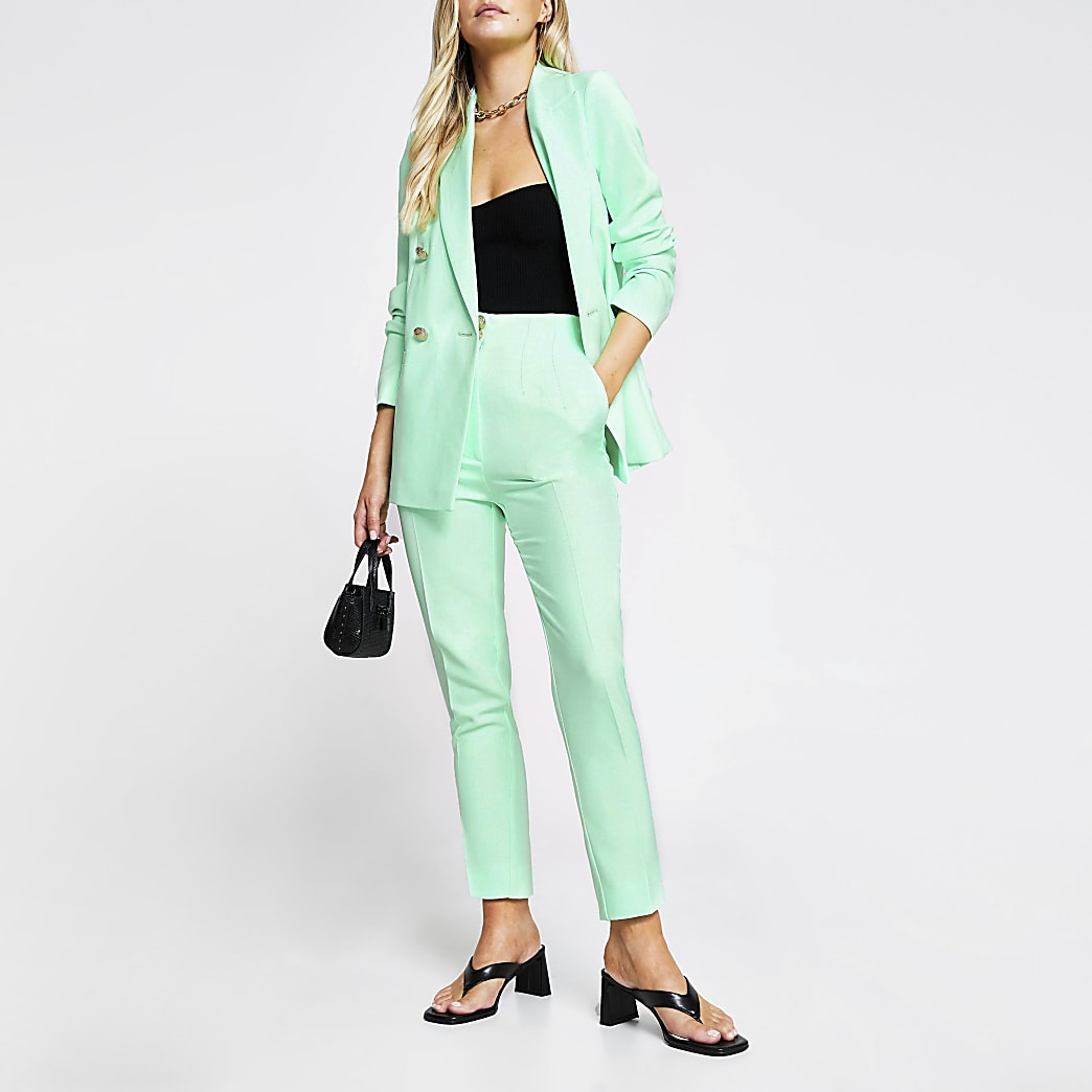 Petite Green cigarette dart trousers