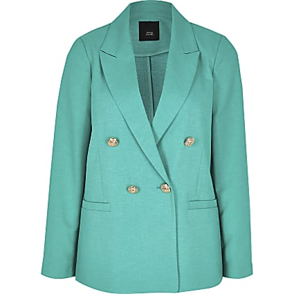 Petite green double breasted blazer